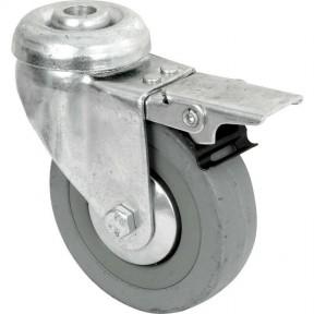 Grey Rubber bolt hole fixing castor 50mm Braked locking