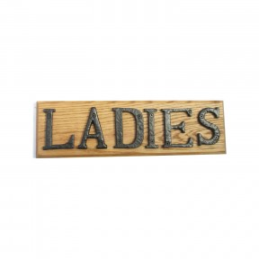 Ladies sign solid oak base cast iron letters