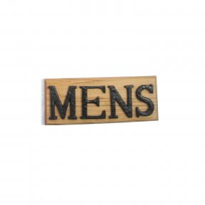 Mens sign solid oak base cast iron letters