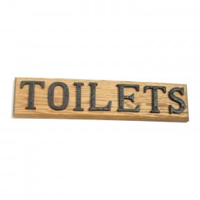 Toilets sign solid oak base cast iron letters