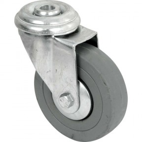 Grey Rubber bolt hole fixing castor 50mm