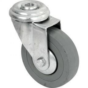 Grey Rubber bolt hole fixing castor 75mm