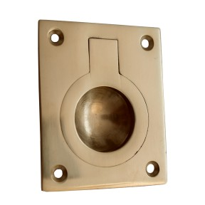 Large Rectangular Ring Pull Polished Brass