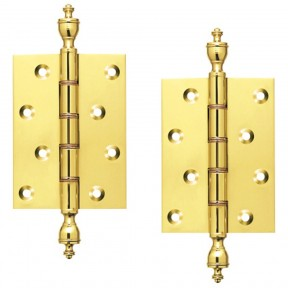 "4"" Pair Of Brass Finial Hinges"