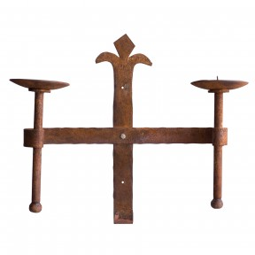 Hand forged Candle holder Double church gothic Rustic