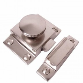 Round Knob Cupboard catch Satin Nickel