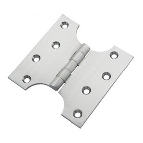 "Pair Of 4"" Solid Brass Parliament Door Hinges Satin Chrome"