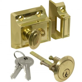 Traditional Rim Cylinder Narrow Night Latch Brass