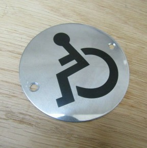 Circle Stainless Steel Disabled Door Sign