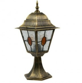 Aged Pedestal Antique Brass Lantern Light