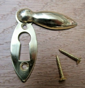 Slim Tear Drop Escutcheon Polished Brass