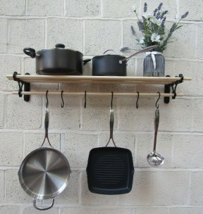 Black Antique Kitchen Pot Pan Rack 1.5