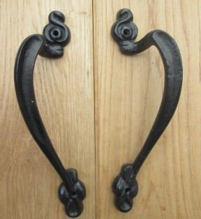 Pair Of Art Nouveau Door Pull Handles Black Antique