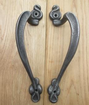 Pair Of Art Nouveau Door Pull Handles Antique Iron