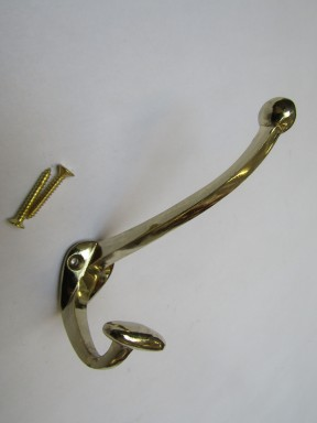Pack Of 5 Small Bowler Coat Hooks Polished Brass