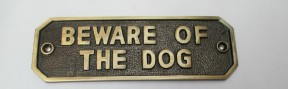 Antique Brass Beware Of The Dog Sign