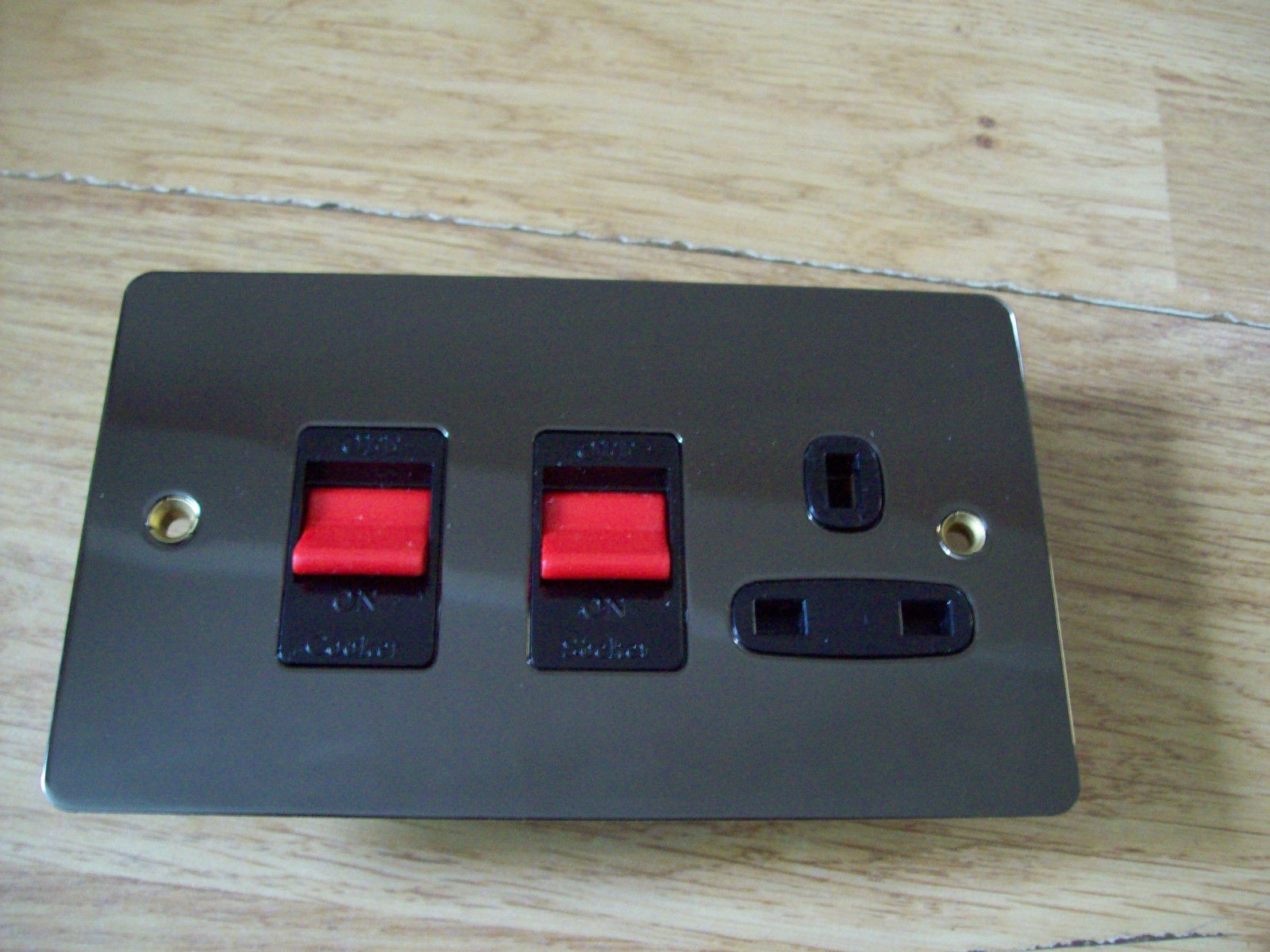 Cooker Control Unit ~ Amp double pole cooker control unit in polished black