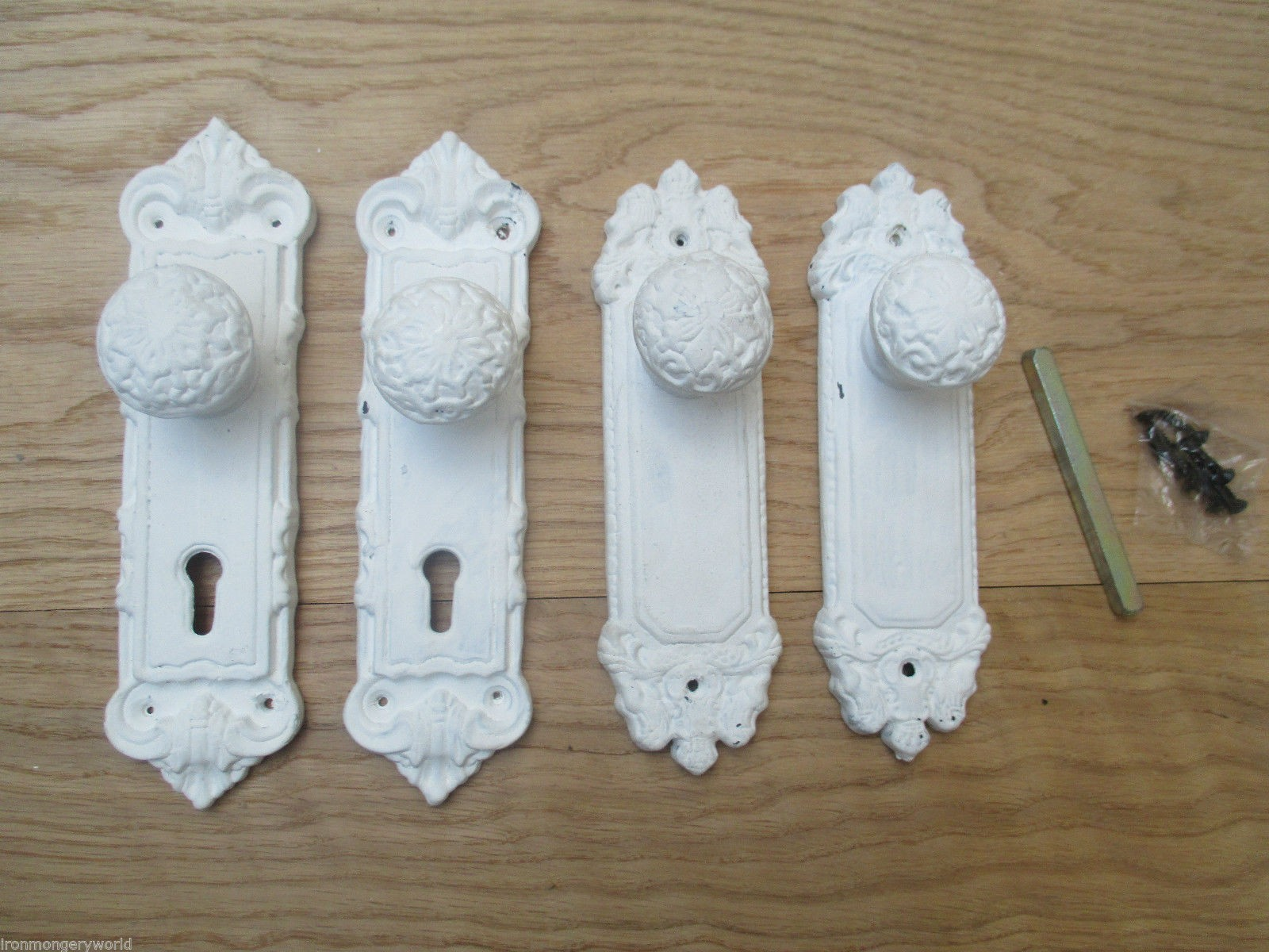 WHITE PATINA DISTRESSED SPRUNG CAST IRON SHABBY CHIC LEVER DOOR ...