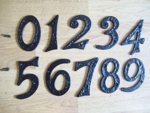 Black Antique Iron House Door Numbers lightbox moreview - Black Antique Iron House Door Numbers Ironmongery World