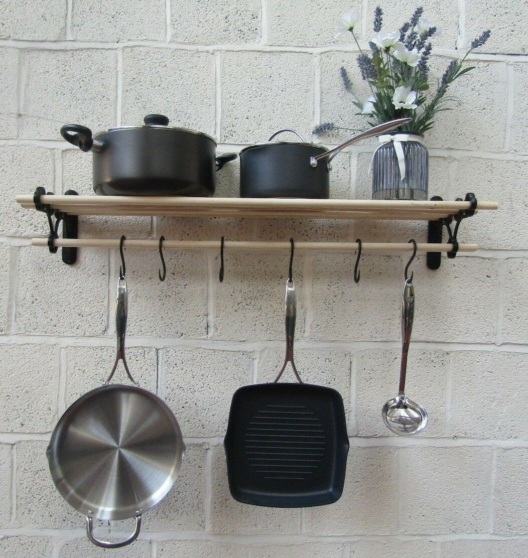 Picture of: Vintage Old Antique Country Style Kitchen Shelf Rack Pot Pan Rack Holder Rail Ironmongery World