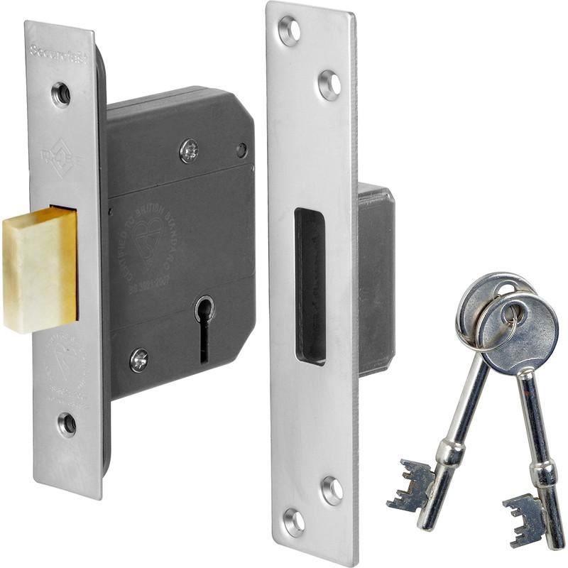 bs high security 5 lever deadlock 64mm satin chrome. Black Bedroom Furniture Sets. Home Design Ideas