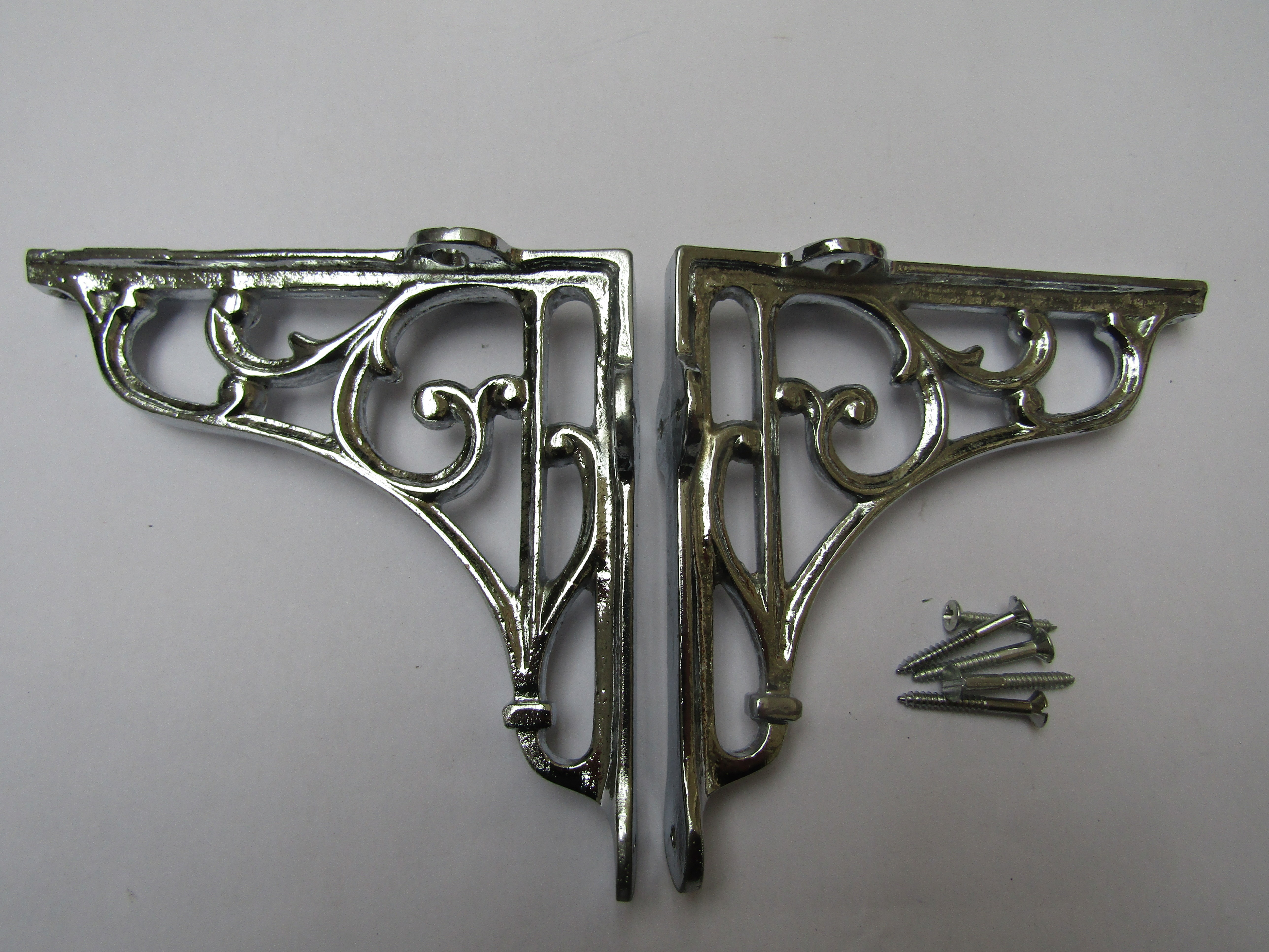 Pair Of 5 Victorian Scroll Shelf Brackets Polished Chrome