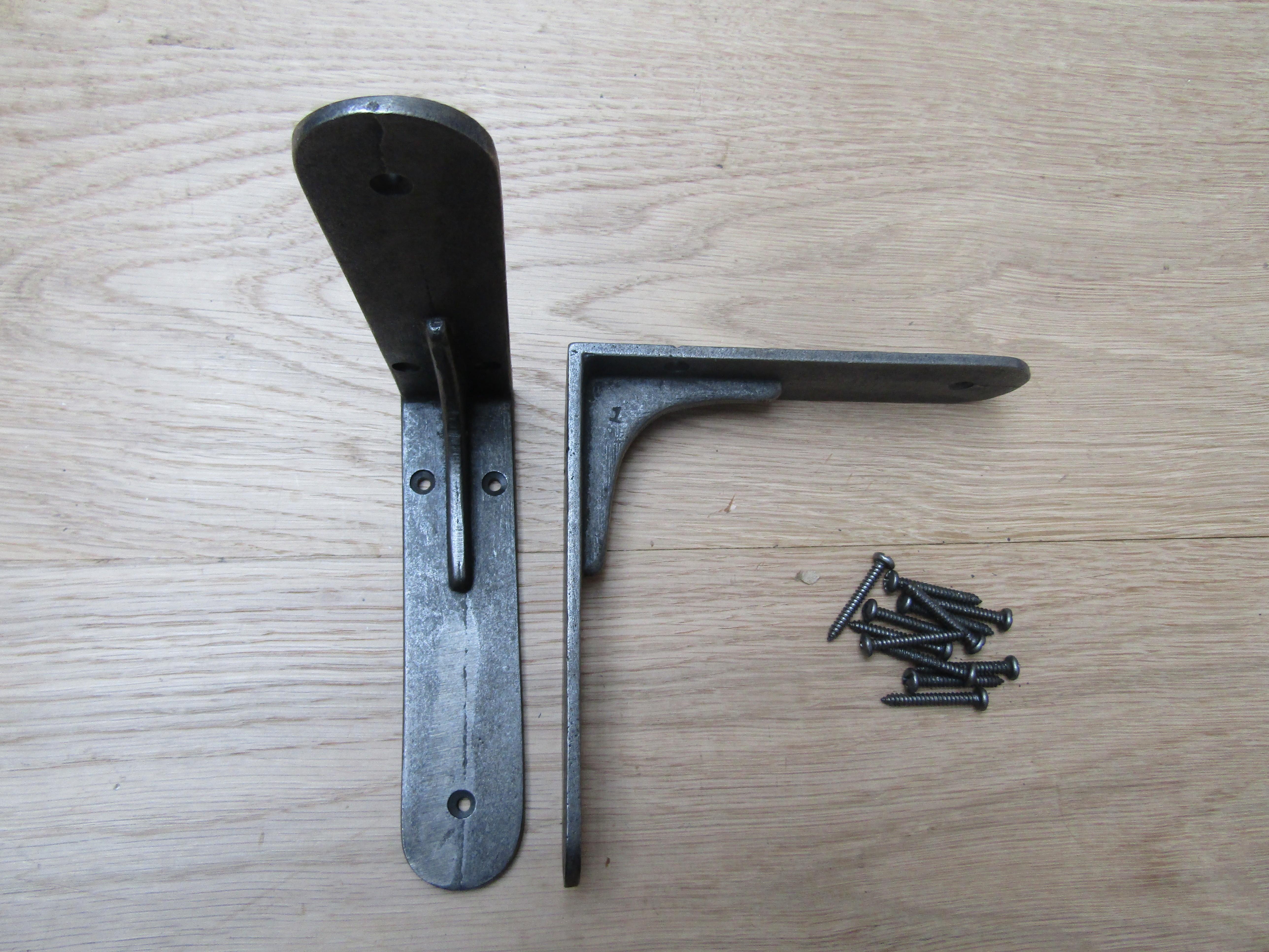 Pair Of 6 Sheffield Shelf Brackets Antique Iron