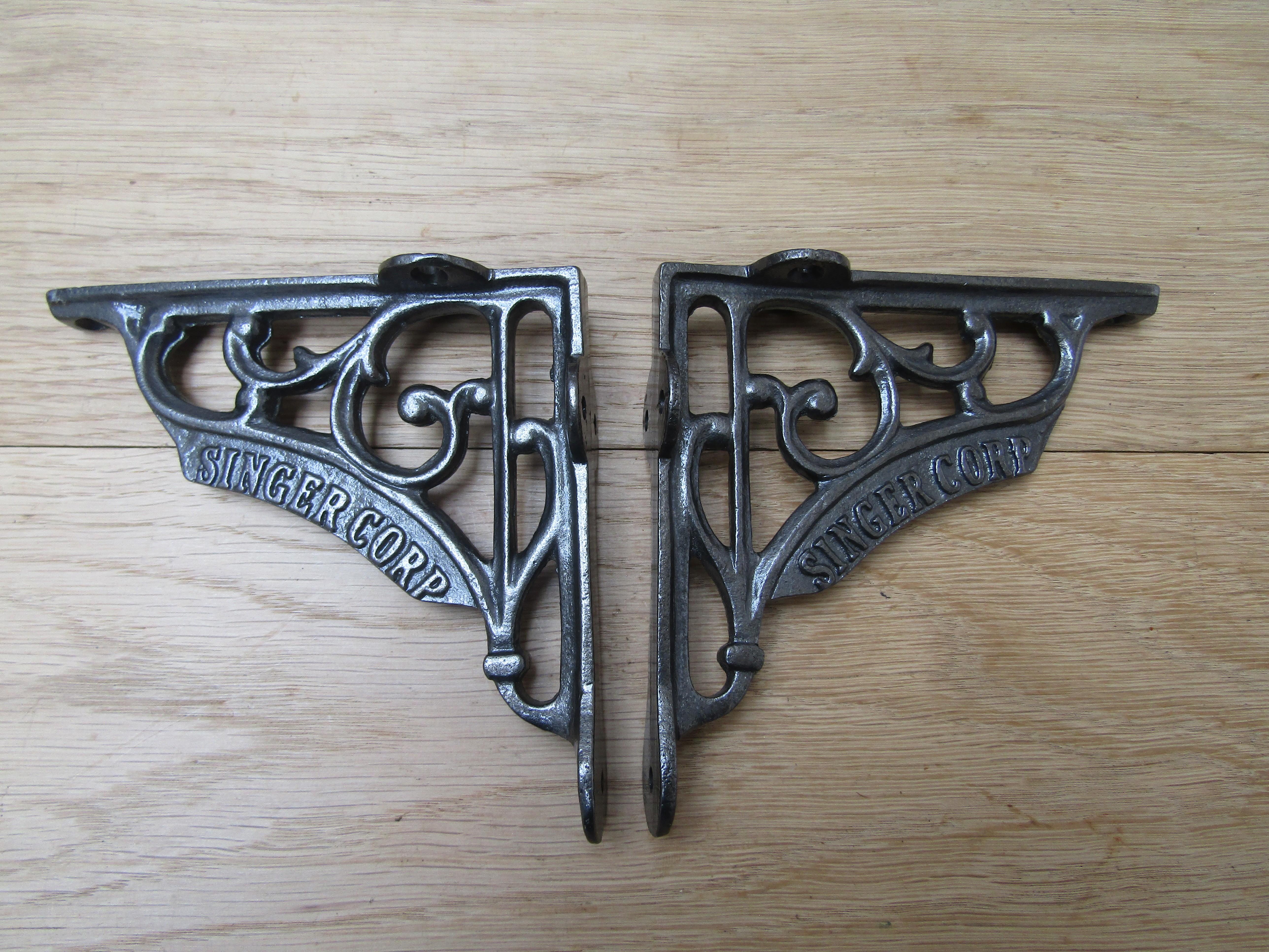 Pair Of 6 Singer Corp Shelf Brackets Antique Iron