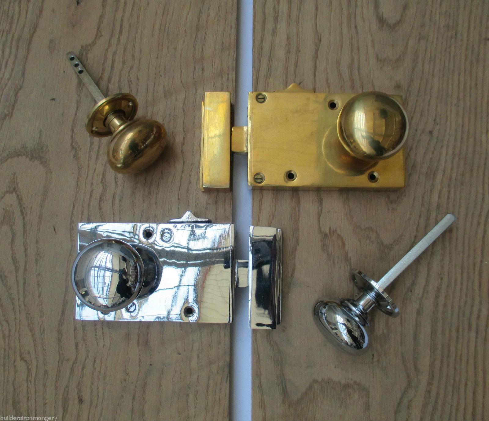 SOLID BRASS VINTAGE RETRO OLD ENGLISH VICTORIAN STYLE RIM DOOR KNOB ...