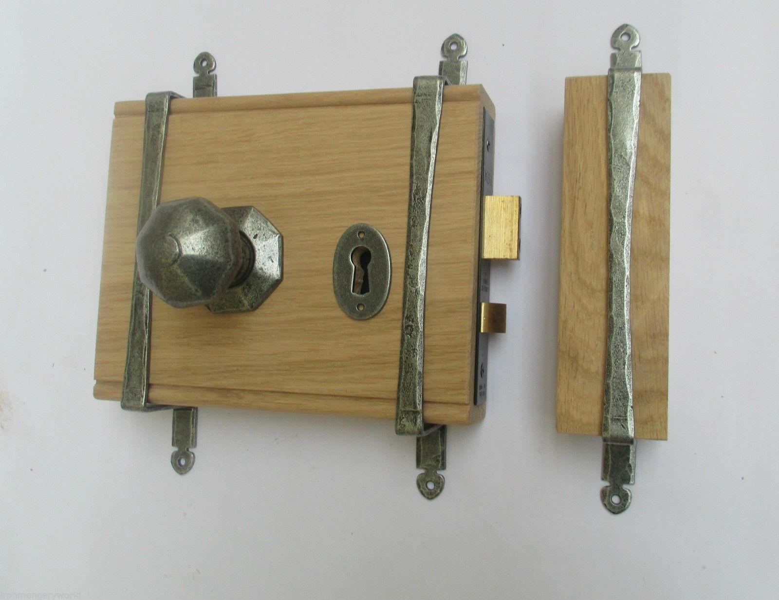 Solid Oak 5 Lever British Standard Rim Door Lock Cast