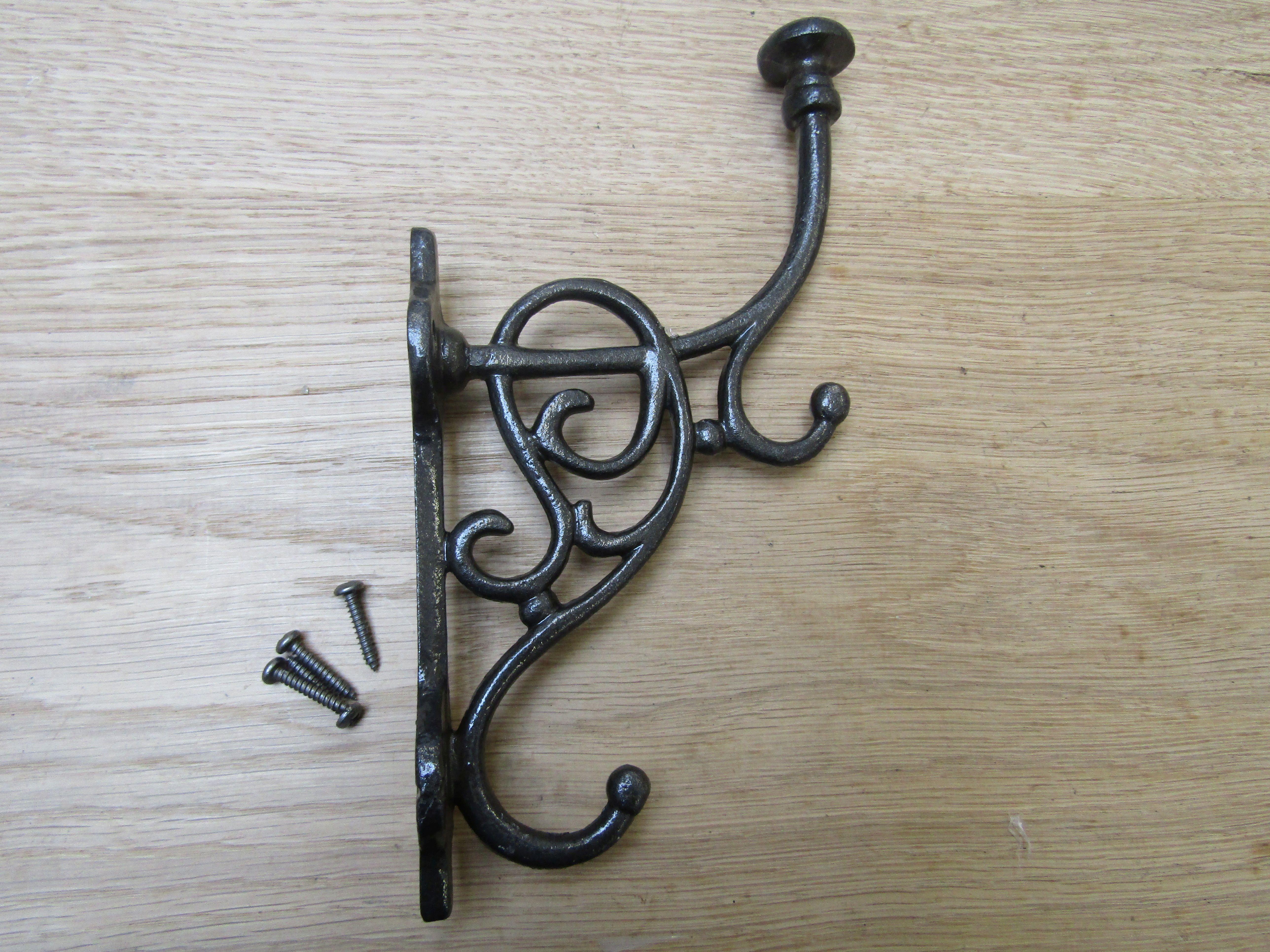 Ornate Cast Iron Coat Hanger Hat Hook Hardware Vtg Antique