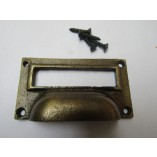 "3"" Small Card Holder Cup Handle Antique Brass"