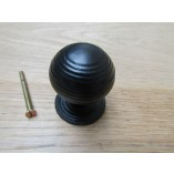 Cast Iron Reeded Cabinet Knob Black Antique