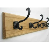 Black Runswick 3 Hook Coat Rail 38cm
