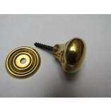 Screw In Cabinet Knob Natural Brass 32mm