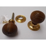 Mortice Door knob Teak + Brass Wooden beehive