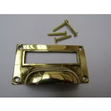 "3"" Victorian Filing Cabinet Card Holder polished brass"