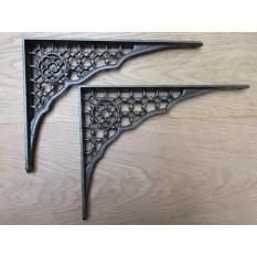 "Pair of Large 12"" Lattice Rustic Cast Iron Shelf Bracket"