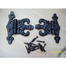 10 Piece Black Antique Unequal Hinges