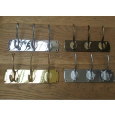 SOLID BRASS HAT AND COAT RAIL RACK HANGER HANGING HOOKS PEGS