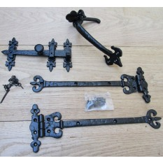 "Set of 12"" Coronet hinges + 9"" Thumb Latch Black Antique"