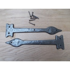 "Pair of Hinge fronts Antique Iron 12"" Leaf end code 7"