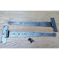 """Pair of 12"""" Penny End Hinges Antique Iron"""