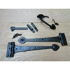"Set of Cast Iron Spear head 18"" Hinge + 7"" Thumb latch Black Antique"