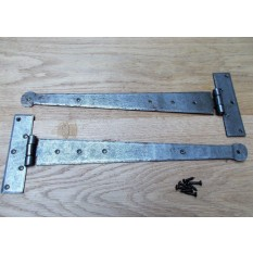 """Pair of 18"""" Penny End Hinges Antique Iron"""