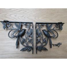 Pair Of One Bird Shelf Brackets Antique Iron