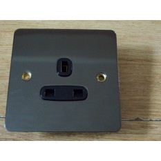 Black Nickel Switch Plate 1 gang unswitched Socket