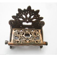 Cast iron vintage Ornate Antique Victorian old style Toilet Roll Holder-ANTIQUE AGED BURNISHED COPPER