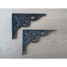 "1 X Decorative Trellis Ornate Victorian Cast Iron book shelf Wall Bracket Support- 6""/150MM BLACK ANTIQUE"
