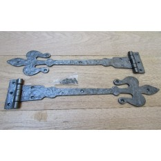 "Fleur De Lys Hinges 16"" Antique Iron"
